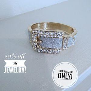 gold paved Buckle bracelet/cuff